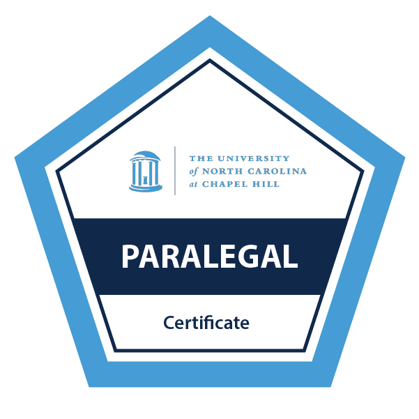 Example of UNC-Chapel Hill digital badge for Paralegal Certificate